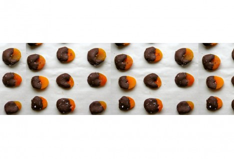 Chocolate Marzipan Dipped Apricots with Sea Salt