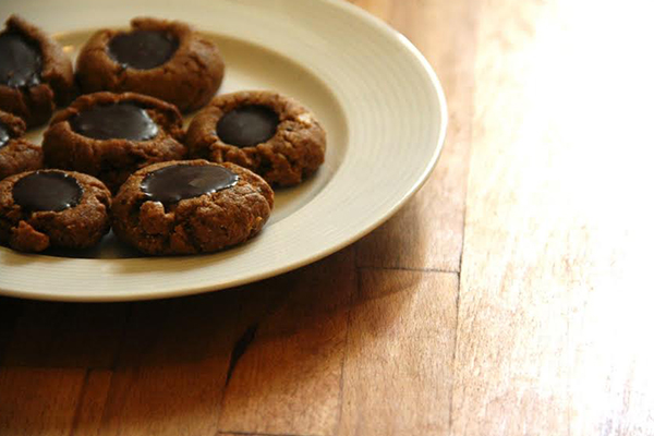 Chili Chocolate Almond Thumbprint Cookies