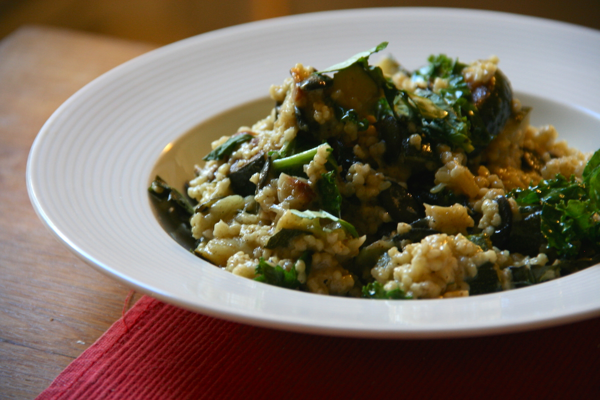 Zucchini Millet Risotto with Kale and Basil