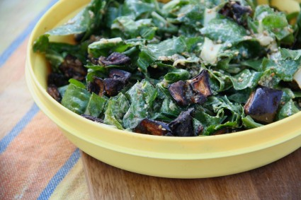 Roasted Eggplant and Chard Salad with Tahini Mint Dressing on Foodie Underground
