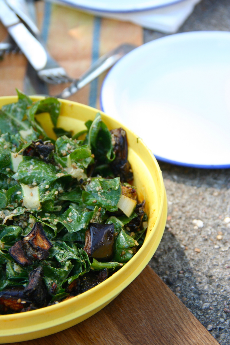 Roasted Eggplant and Chard Salad with Tahini Mint Dressing