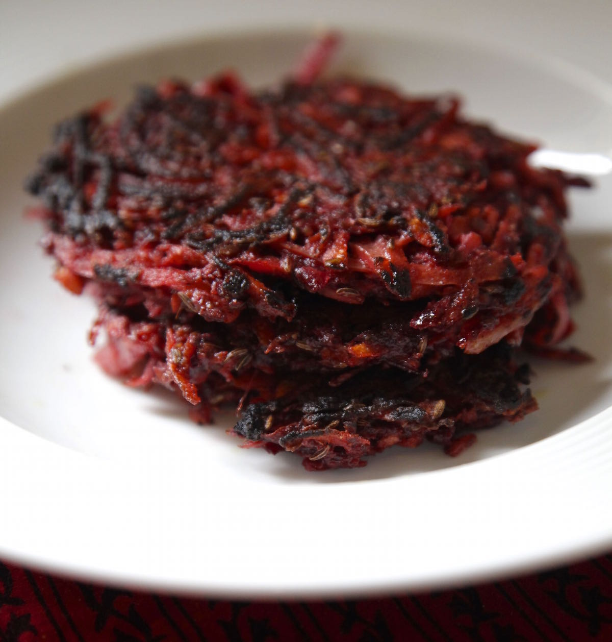 Beet and Carrot Caraway Fritters on Foodie Underground