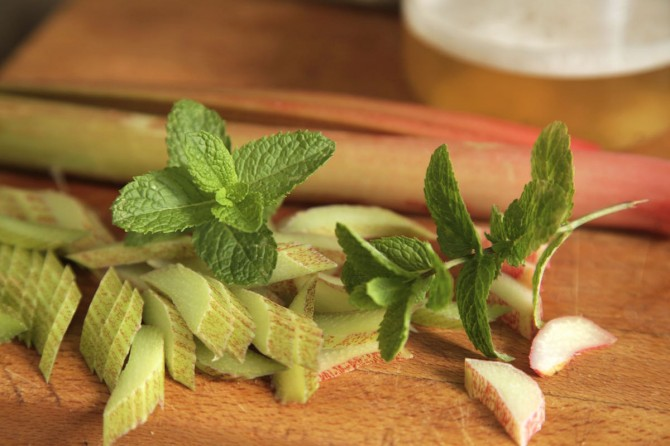 Quick Pickled Rhubarb with Mint on Foodie Underground