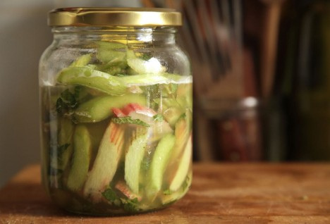 Quick Pickled Rhubarb with Mint