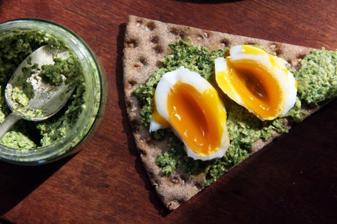 Fiddlehead Pesto Sandwich with Egg