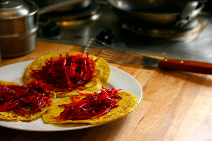 Chickpea Crepe Tacos with Raw Beets and Carrots