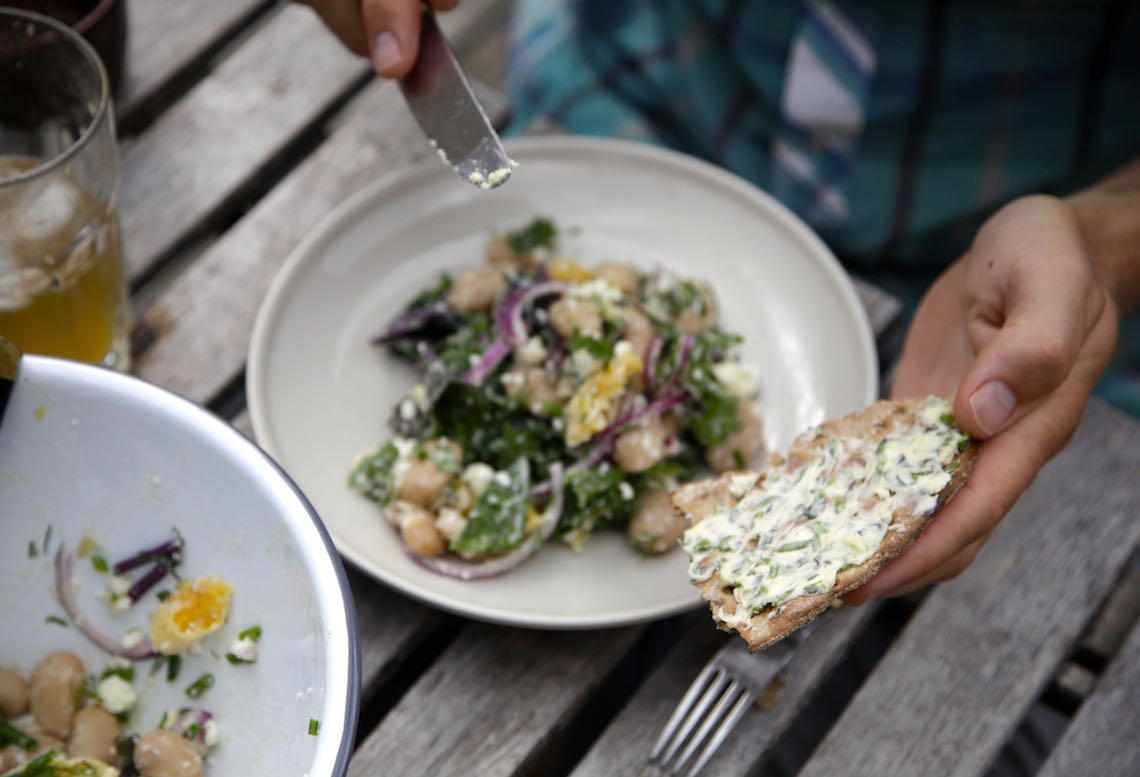 White Bean and Kale Salad with Feta and Dill