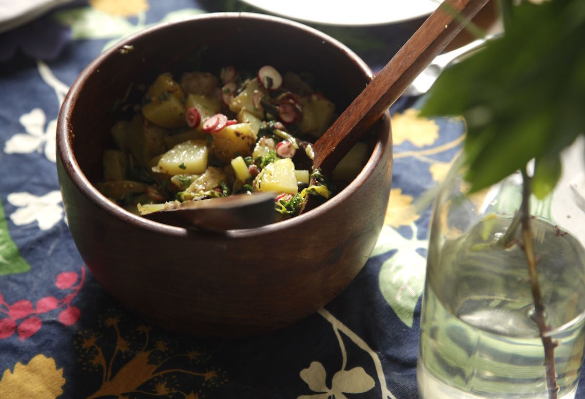 Potato Salad with Radish Greens and Mint Marinated Radishes
