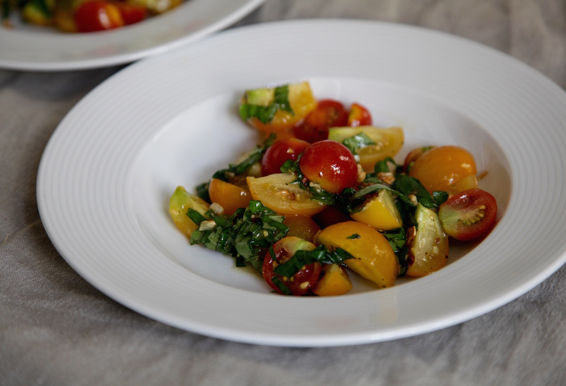 Tomato and Basil Salad with Fried Garlic