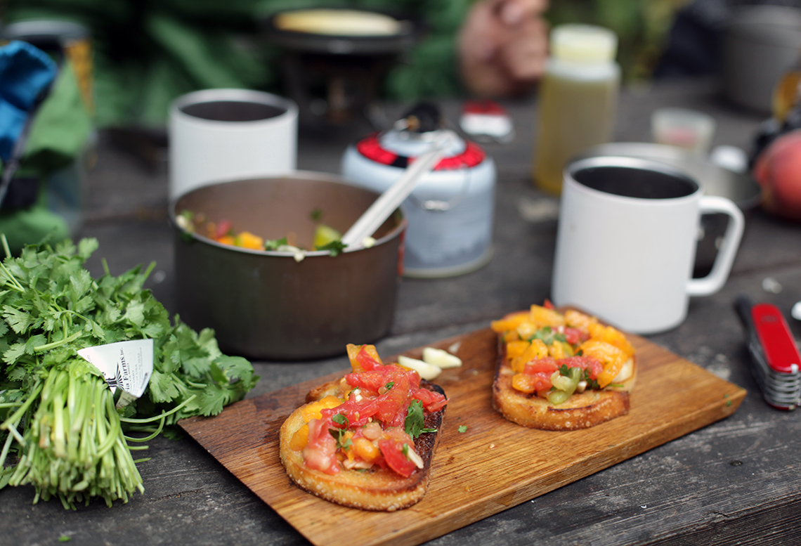 Late Summer Cilantro and Tomato Bruschetta (for Outdoor Enthusiasts)