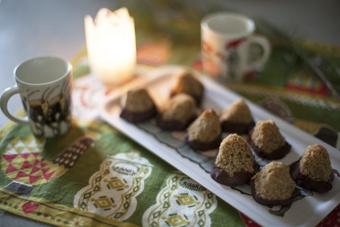 Gingersnap Spice Coconut Peaks (Dipped in Chocolate)